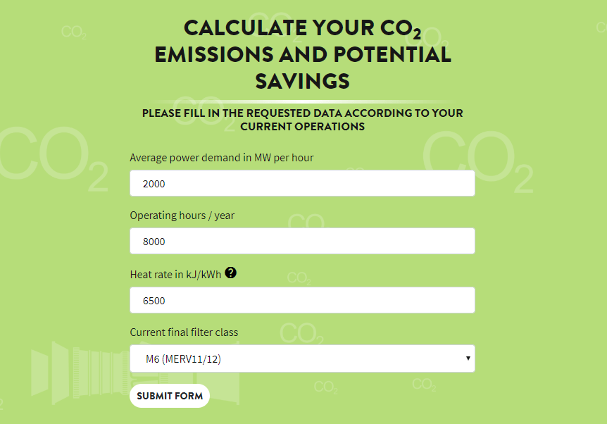 Co2 calculator form