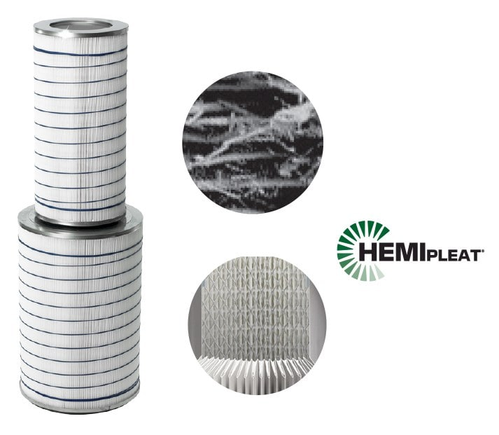 A pleated filter removes hygroscopic particles in humid areas