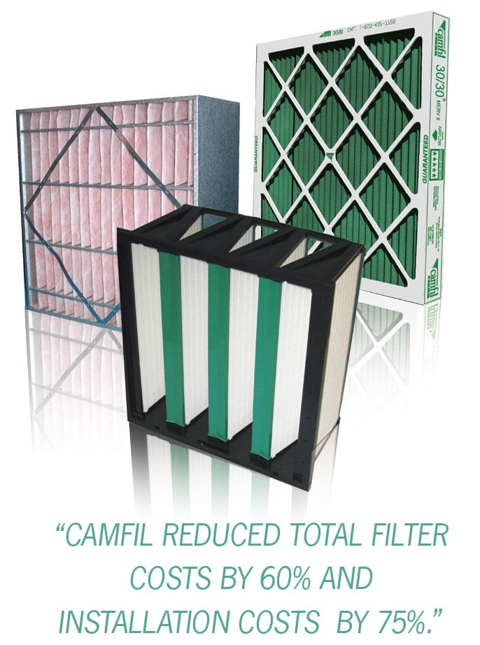 A combination of pre-filter and box-style filters from Camfil.